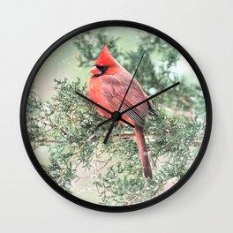Christmas Bird: Northern Cardinal Wall Clock
