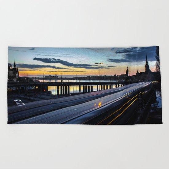 Stockholm Night - Slussen Beach Towel