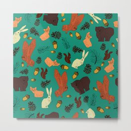 Turquoise Woodland Forest Animals and Pine Cones Repeat Pattern Metal Print