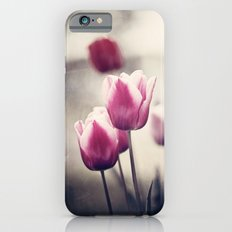 Pink Tulip Flower Photography, Dark Pink Black Floral Nature Tulips iPhone 6s Slim Case