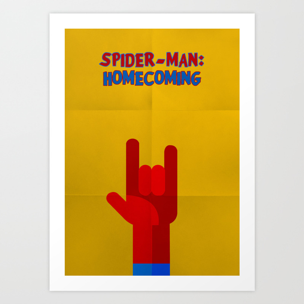 Spider-man Homecoming Minimalist Poster Art Print by Popate PRN6811425