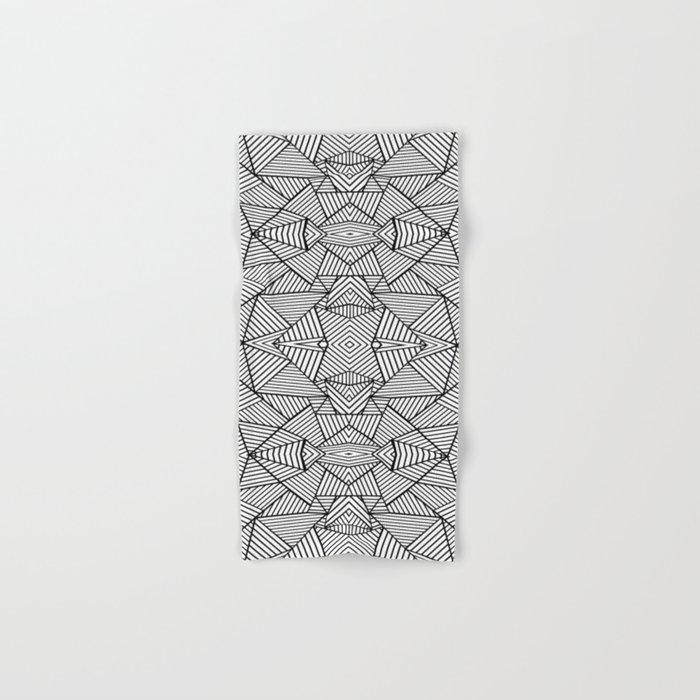 Abstract Mirror Black on White Hand & Bath Towel