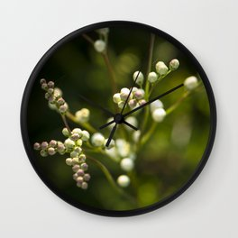 Pearls in the green nature Wall Clock