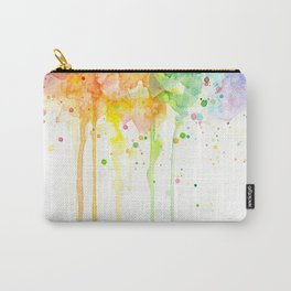 Watercolor Rainbow Splatters Abstract Texture Carry-All Pouch