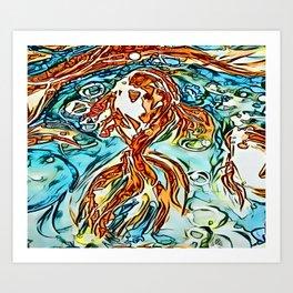 Bubbly Goldfish watercolor by CheyAnne Sexton Art Print