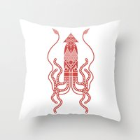 squid Throw Pillows featuring Squid by Hinterlund