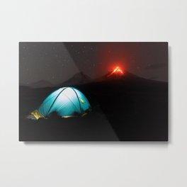Illuminated tourist tent at night on background of erupting Klyuchevskaya Sopka Metal Print
