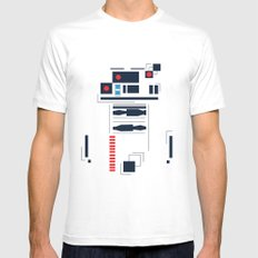 R2D2 Abstract White Mens Fitted Tee MEDIUM