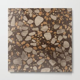 Terrazzo - Mosaic - Wooden texture and gold #3 Metal Print