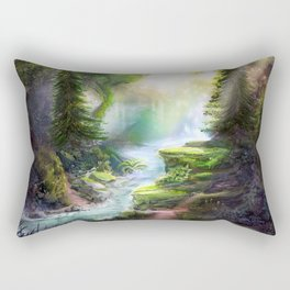 Magical Forest Stream Rectangular Pillow