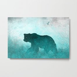 Teal Ghost Bear Metal Print