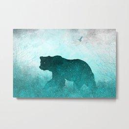 Teal Ghost Bear Metal Print