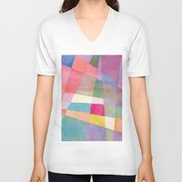 grid V-neck T-shirts featuring Grid by Dreamy Me