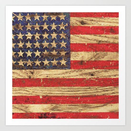 Vintage Patriotic American Flag on Old Wood Grain Art Print