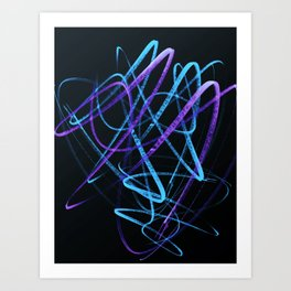 Sky Blue and Bold Violet Wavy Lines Art Print