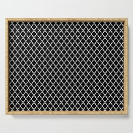 oriental pattern grid, black and white - seamless morocco style background Serving Tray