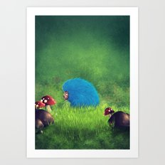 Blue Pet! Art Print