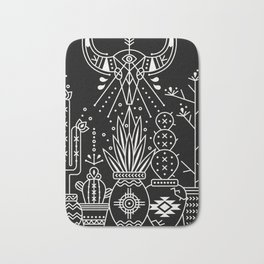Santa Fe Garden – White Ink on Black Bath Mat