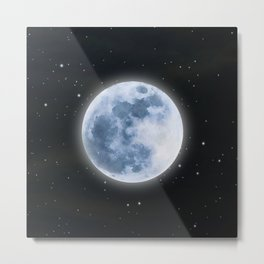 Full Moon: Water Element Metal Print
