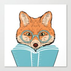 Reading Fox - White Background Canvas Print