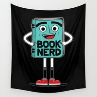 nerd Wall Tapestries featuring Book Nerd by treemanJAKE