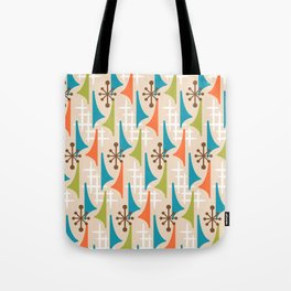 Mid Century Modern Atomic Wing Composition 66 Brown Orange Turquoise and Chartreuse Tote Bag