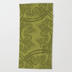 Golden Lime Fractal Beach Towel