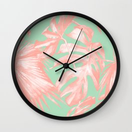 Island Love Seashell Pink + Mint Green Wall Clock