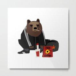 Smoking Gopnik slav bear wearing ushanka squat on the street with semechki and vodka Metal Print