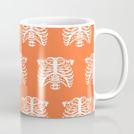 Human Rib Cage Pattern Orange Coffee Mug