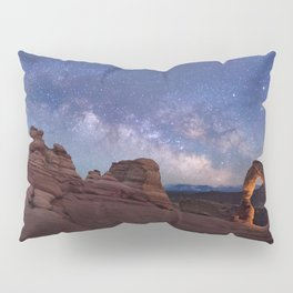 Delicate Arch Under the Starry Sky in Arches National Park Panorama Pillow Sham