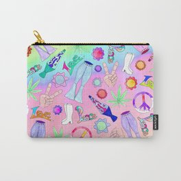 Psychedelic 70s Groovy Collage Pattern Carry-All Pouch