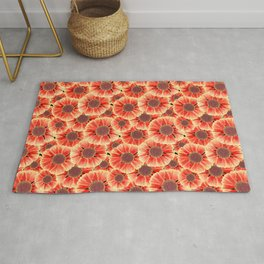 Sneezeweed / Helenium Flower, Floral Watercolor Pattern in Red, Yellow and Black  Rug