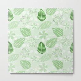 Tropical Green Leaf Floral Pattern Metal Print