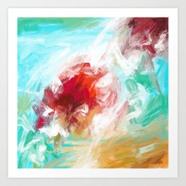 Center of Attraction Acrylic Abstract with Prominent Red and Green Art Print