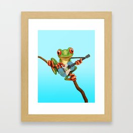 Tree Frog Playing Acoustic Guitar with Flag of Guatemala Framed Art Print