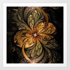 Shining Leaves Fractal Art Art Print