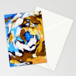yellow brown and blue spiral painting texture abstract background Stationery Cards