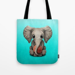 Baby Elephant Playing With Basketball Tote Bag