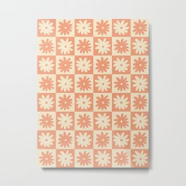 Peach And Off White Checkered Floral Pattern Metal Print