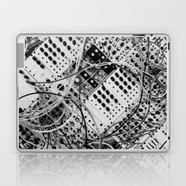 analog synthesizer  - diagonal black and white illustration Laptop & iPad Skin