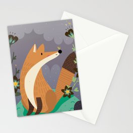 Fox and flowers Stationery Cards