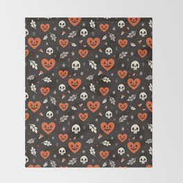 I Heart Halloween Pattern (Black) Throw Blanket