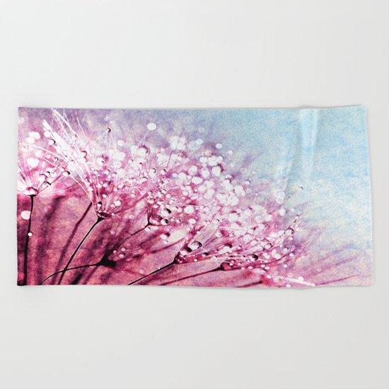 Mauve Lavender Blue Dandelion Dew Flowers Beach Towel