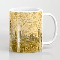 dallas Mugs featuring dallas city skyline by Bekim ART