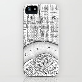 Vintage Map of New Orleans (1880) BW iPhone Case