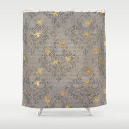 Elegant Gray Damask Gold Cursive Bee Collage Pattern Shower Curtain
