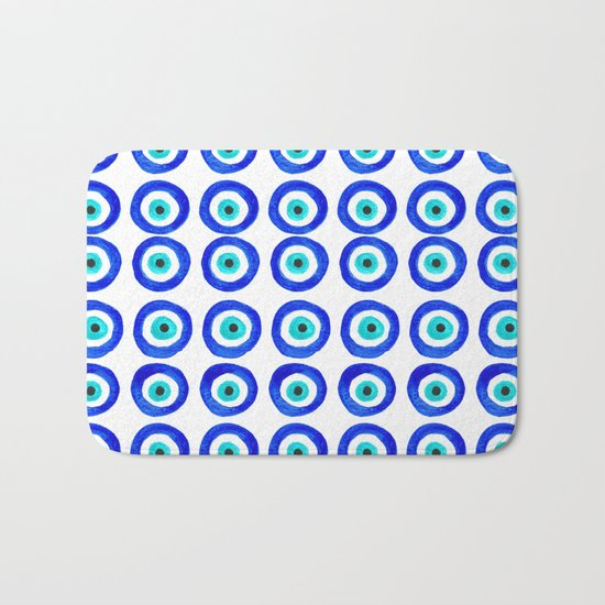 Evil Eye Talisman - on white Bath Mat