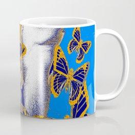 EROTIC ART BLUE-BROWN ARTISTIC  NUDE DREAMING BUTTERFLIES Coffee Mug