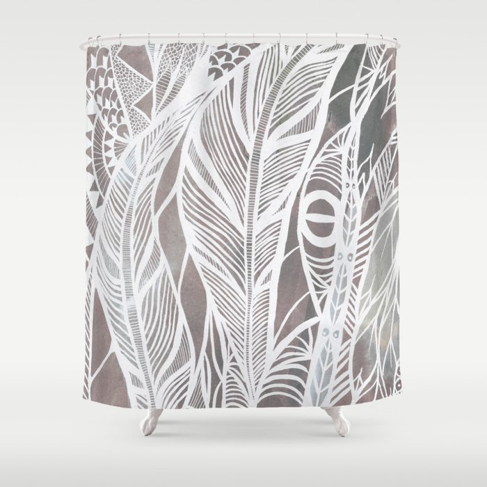 Earthy Feathers Shower Curtain By Callmeashmael